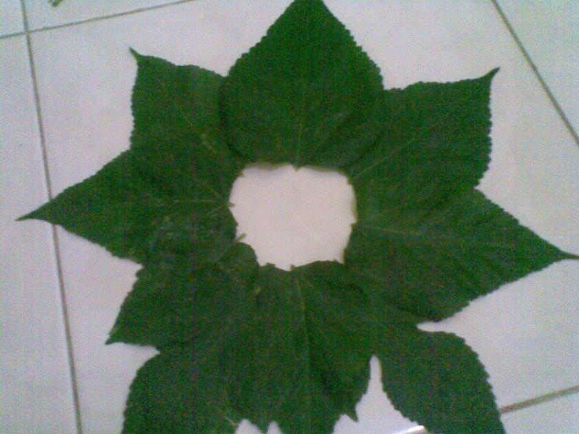 Susun daun bertumpuk melingkar dengan menyisakan area lobang tengah, untuk menjiplak bentuk bunga
