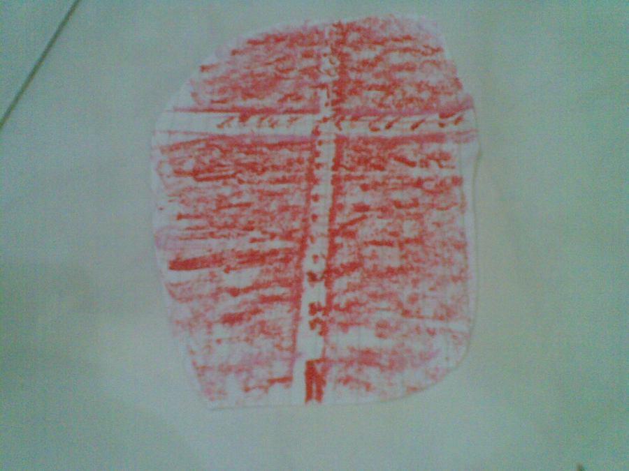 Dibuat dengan goresan titik-titik yang kemudian ditimpa goresan memanjang dengan warna lain.