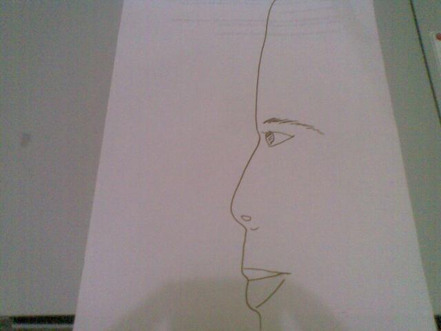 contoh gambar siluet bayangan wajah suami saya, yang telah diberi tambahan alis, mata, lobang hidung serta bibir di lekukan yang pas.