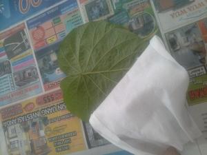 Siapkan tissue basah untuk membersihkan tiap daun dari debu dan kuman